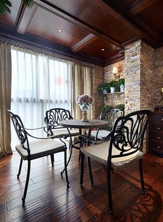 美式田园风格三居室装修餐厅设计