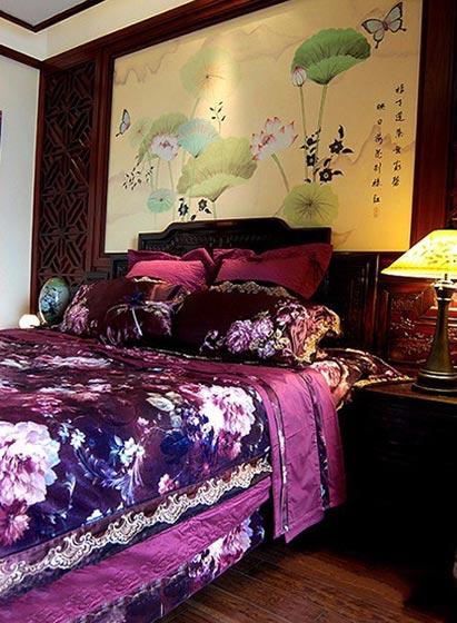 古香古色中式卧室背景墙设计