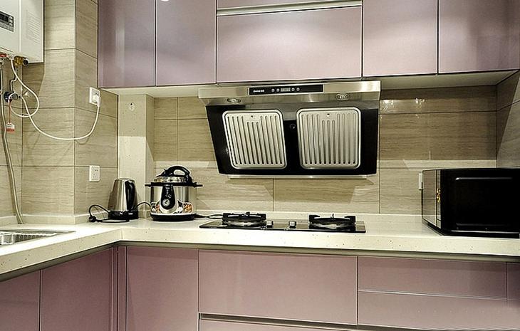 浪漫浅紫色简约风厨房效果图