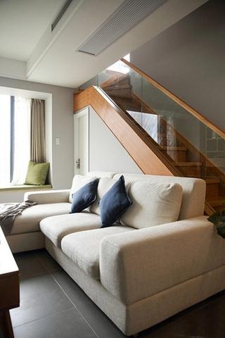 宜家风格小复式装修布艺沙发图片