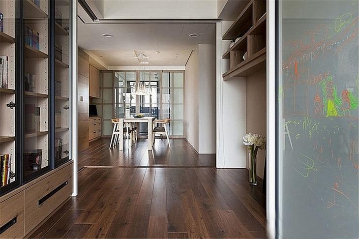 简约风格三室两厅装修书柜设计图