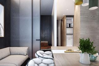 40平小户型公寓双人沙发效果图