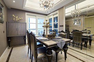 简欧新古典餐厅镜面背景墙设计