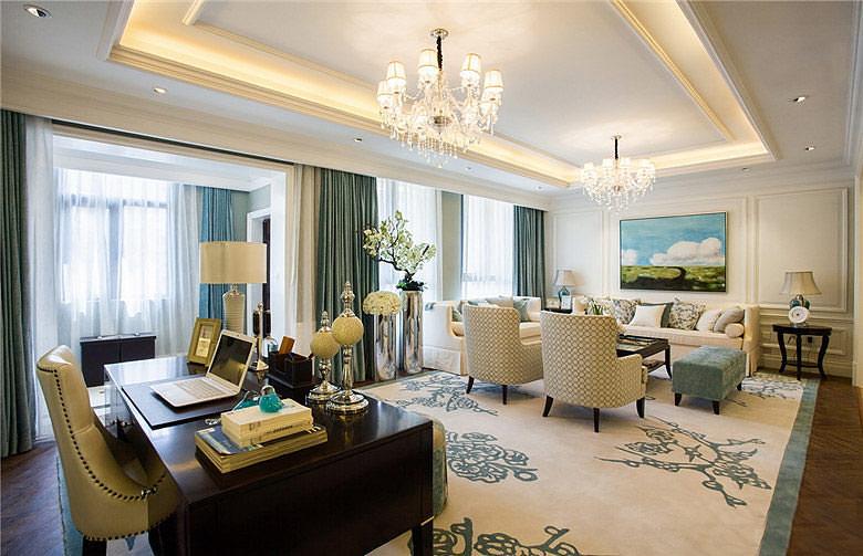 华丽优雅美式 客厅书房吊顶大全