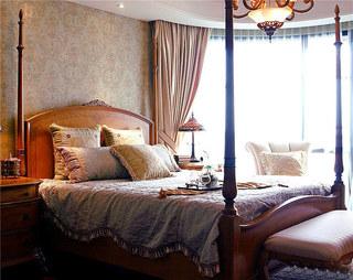 欧式风格三室两厅装修欧式木床图片
