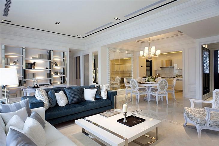 华丽欧式三居室内隔断设计