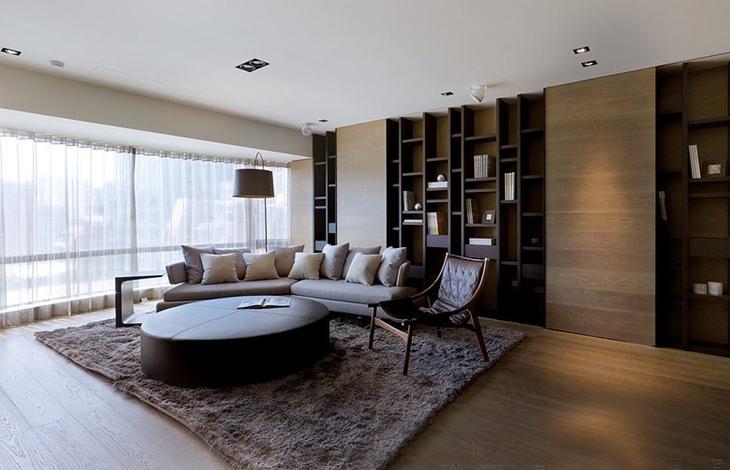 简约风格三居室装修书架效果图