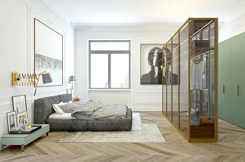 110平单身公寓卧室衣柜设计