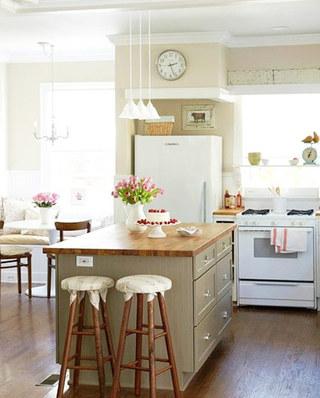 田园风格厨房吧台效果图