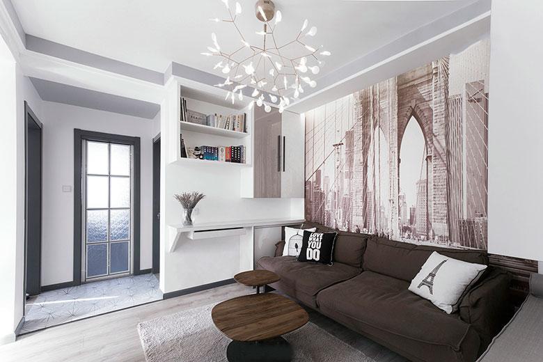 极简主义客厅书架隔断设计