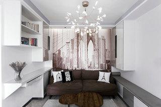 100㎡现代简约两居室沙发摆放图