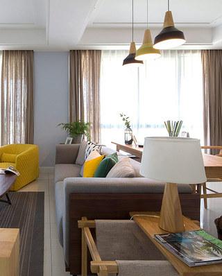 130平简约风格三居客厅效果图