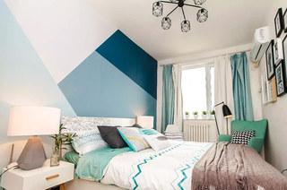 清爽蓝色北欧风格 单身公寓卧室设计