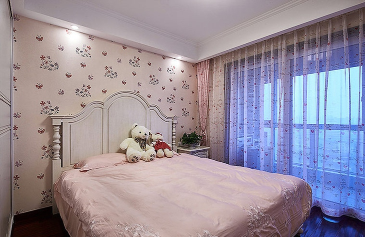 浪漫粉色系美式儿童房效果图