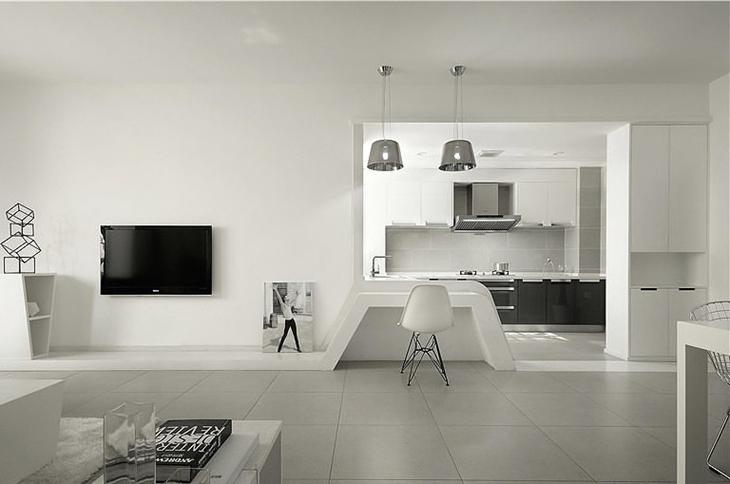 简约风格两居客厅木质地板装修