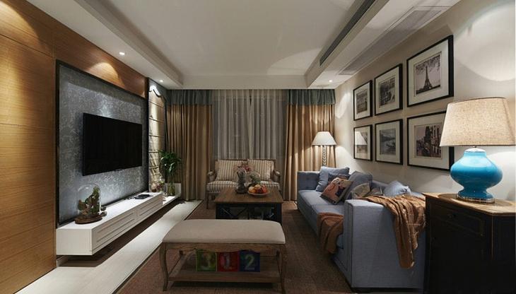 美式风格三居室装修客厅效果图