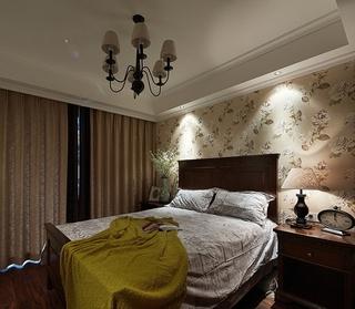 休闲美式卧室 花色背景墙效果图