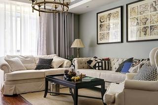 法式新古典客厅照片墙效果图