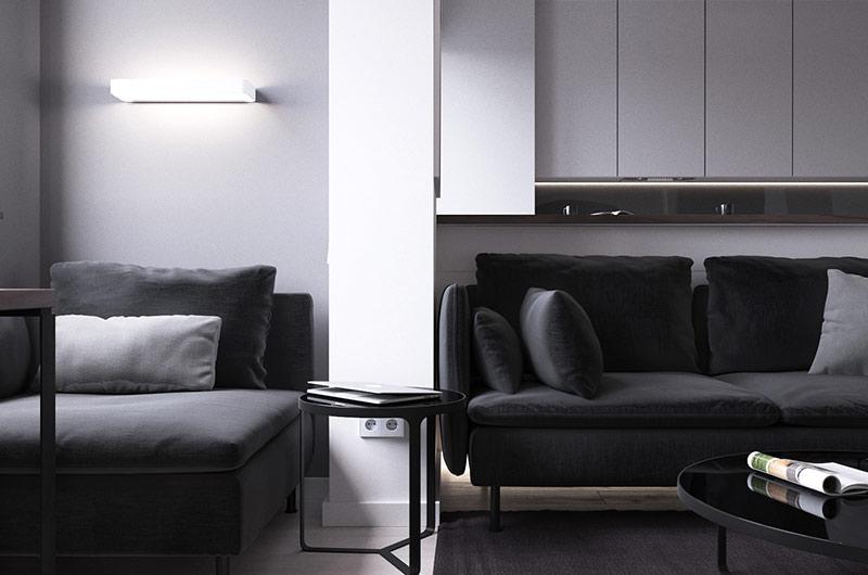 45平单身公寓客厅效果图