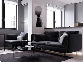 黑白灰打造极简主义一居室设计