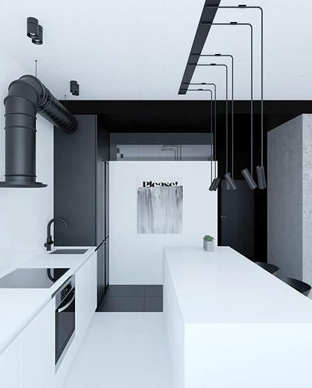 62平单身公寓厨房吊灯装修图