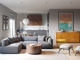北欧工业混搭风格两室两厅装修 独特质感