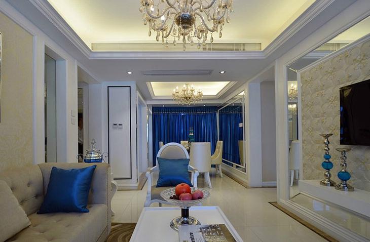 欧式风格两居室装修客厅吊顶装修