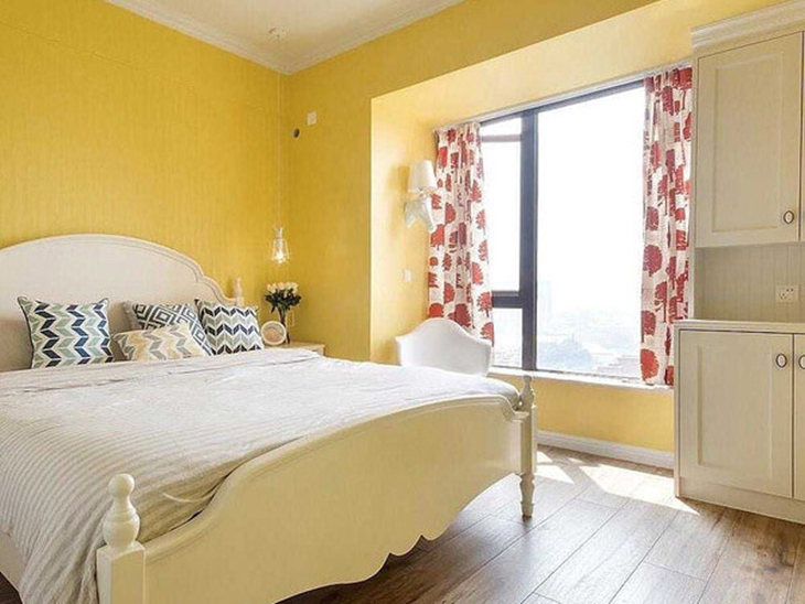 柠檬黄简美式卧室效果图