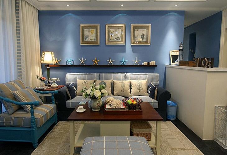 清新地中海风客厅 蓝色背景墙设计