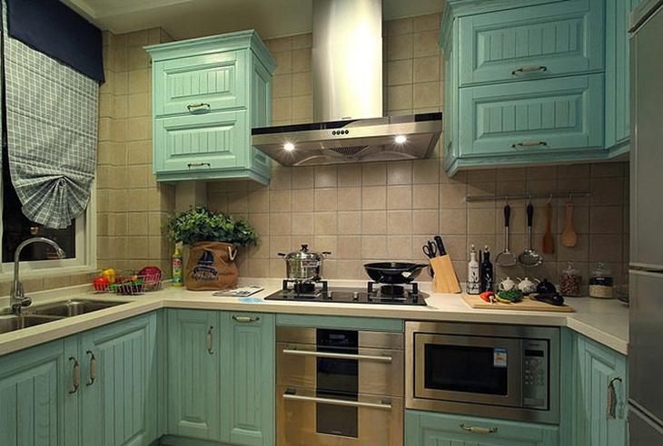 薄荷绿地中海风情 厨房橱柜设计