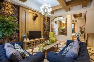 美式风格小复式装修客厅效果图