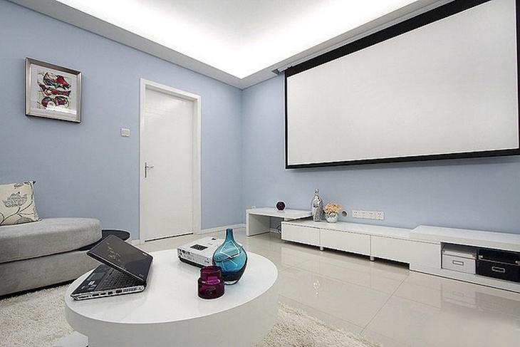 清新简洁客厅影视墙效果图