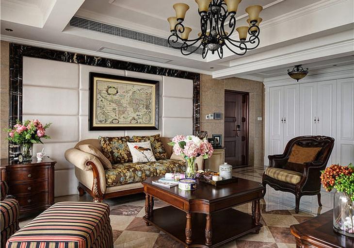 高端美式客厅背景墙效果图