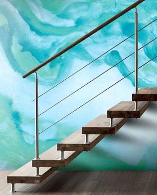 楼梯手绘背景墙效果图装修