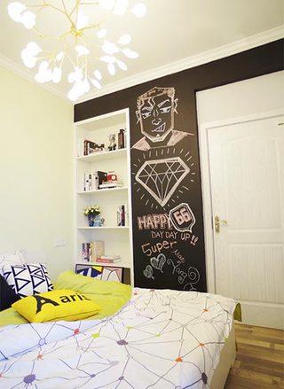 60㎡混搭单身公寓背景墙效果图