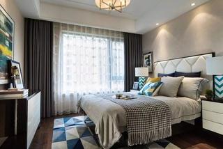 简约风格联排别墅卧室床头软包