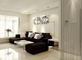 黑白色经典搭配 简约风格婚房装修效果图
