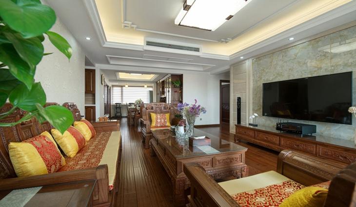 中式风格三室两厅装修石材电视背景墙