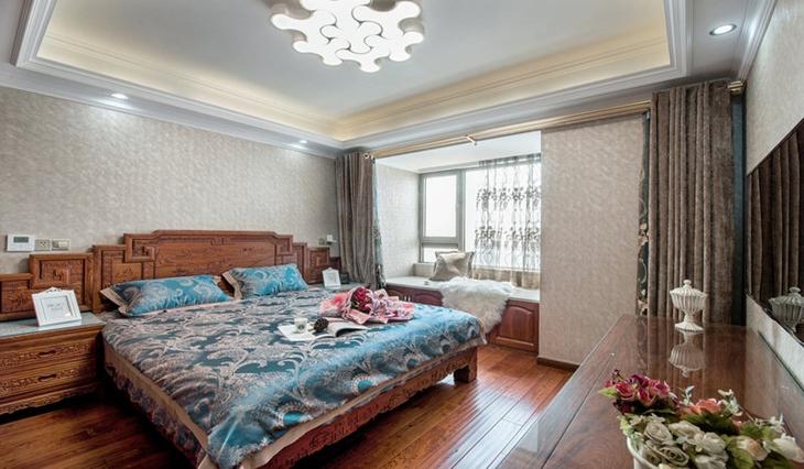 中式风格三室两厅装修卧室吊顶设计图