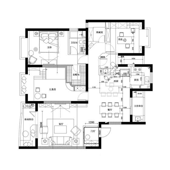 125㎡美式风格三居室平面图