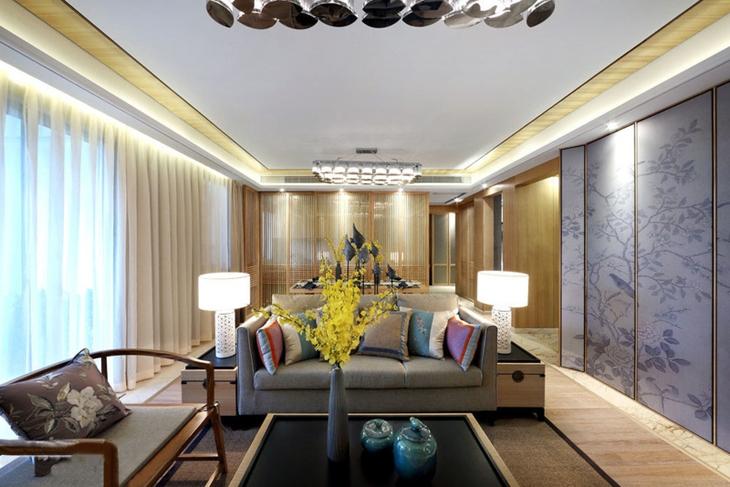 时尚新中式客厅吊顶效果图