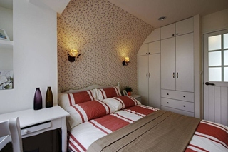 温馨田园风卧室 碎花背景墙效果图