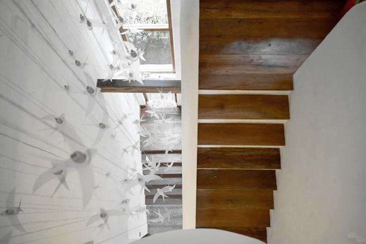 休闲田园风 复式原木楼梯俯瞰图