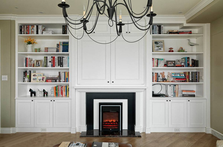 美式客厅壁炉书柜效果图
