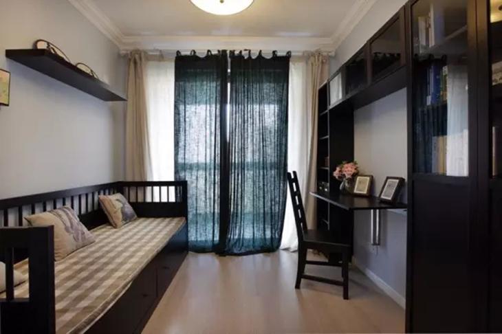 复古简中式书房沙发床设计