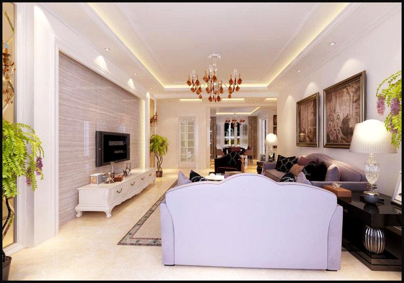 3-5万100平米欧式二居室装修效果图,简欧装修案例效果图片