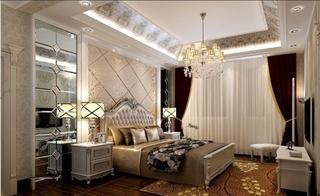 欧式风格大户型装修卧室床头软包