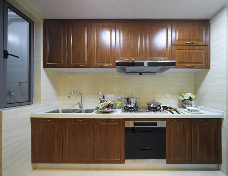 自然美式厨房实木橱柜图