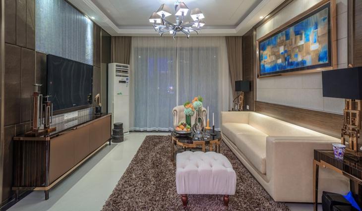 100平简欧风格三居小客厅设计图