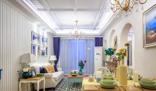 120平地中海风格三居客厅吊顶装修